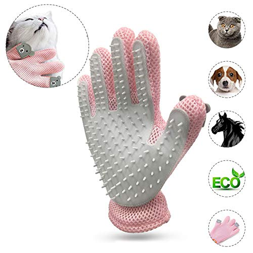 2-In-1 Pet Grooming Handschuh Deshedding Brush Pet Hair Remover Mitt Katzen Hunde Gentle Message Groomer Fünf Finger Design Handschuhe mit Soft Rubber Tipps (Rosa) -