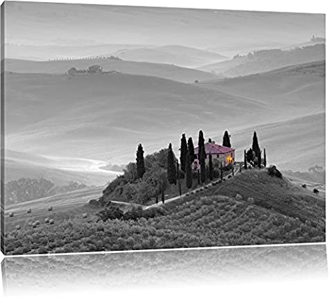beautiful Tuscan landscape black / white format: 120x80auf canvas XXL huge Pictures completely framed with stretcher, art print on mural with frame, cheaper than painting or oil painting, no poster or poster
