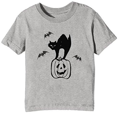 Kürbis Kinder Unisex Jungen Mädchen T-Shirt Rundhals Grau Kurzarm Größe XL Kids Boys Girls Grey X-Large Size XL (Halloween-katze Auf Kürbis)
