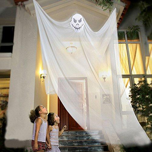 Littlegrasseu Halloween Deko Hängefigur Hängend Gruslig Horror Türvorhang Perfekt für Karneval Halloween Party Tür Dekoration (Weiß)