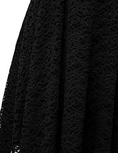 bbonlinedress Damen Elegant V Ausschnitt aus Spitzen Kurzarm Festlich Hochzeit Cocktail Party Abendkleider Black M - 6