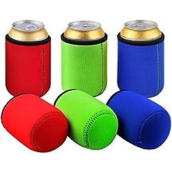 Tagvo Enfriador de latas, Cubierta de lata de cerveza aislada Cubierta Easy-On puede enfriar Juego de 6 - Color surtido, lavable a máquina, duradero, neopreno con bordes de tela cosida