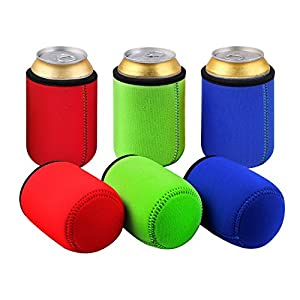 TAGVO Can Sleeves, Insulated Beer Can Sleeve Covers Easy-On Can Cooler Set of 6 - Assorted Colour, Machine Washable, Durable, Neoprene with Stitched Fabric Edges