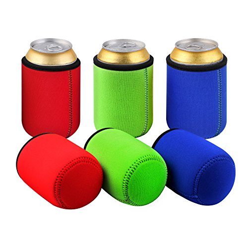 51kKD hMPyL. SS500  - TAGVO Can Sleeves, Insulated Beer Can Sleeve Covers Easy-On Can Cooler Set of 6 - Assorted Colour, Machine Washable…