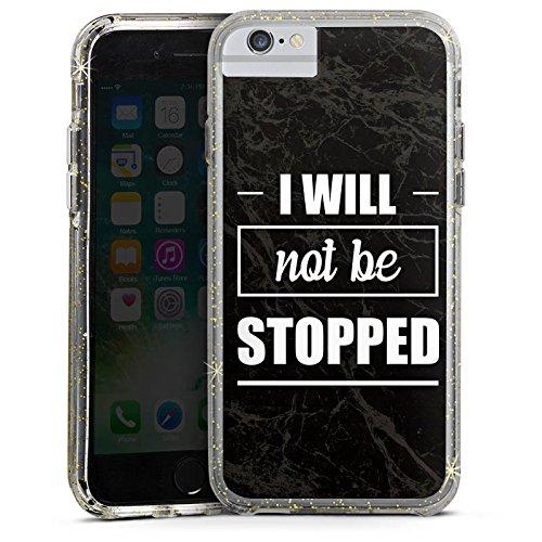 Apple iPhone 6 Bumper Hülle Bumper Case Glitzer Hülle Stop Workout Fitness Bumper Case Glitzer gold