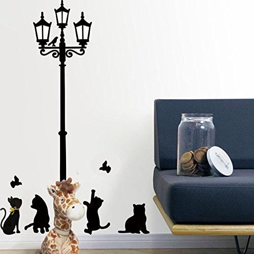 serliy Katzen Street Lamp Lights Aufkleber Wandtattoo Abnehmbare Art Vinyl Decor