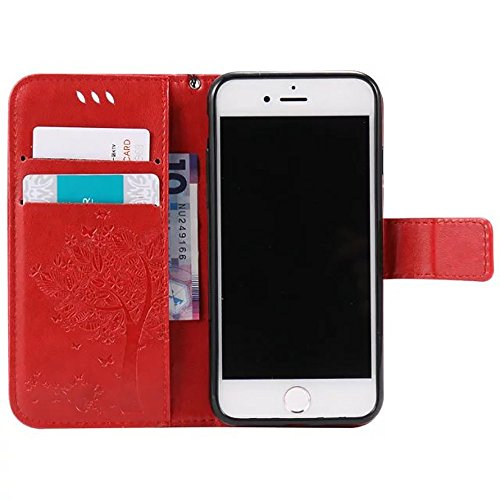 DaYiYang Case Cover IPhone 7 Case, Embossed Fleurs Chat et Arbre Case, Solid Color PU Housse en Cuir Silicone Cover Wallet Stand avec Hand Strap pour iPhone 7 ( Color : Dark Brown ) Red