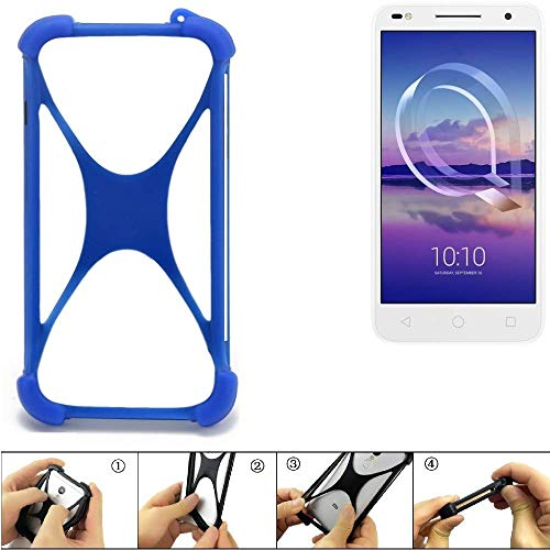 K-S-Trade Bumper für Alcatel U5 HD Dual SIM Silikon Schutz Hülle Handyhülle Silikoncase Softcase Cover Case Stoßschutz, blau (1x)