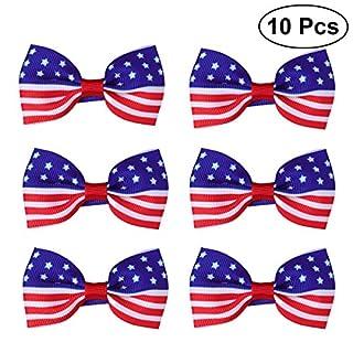 BESTOYARD USA Amerika Flagge Haarspange Kinder Baby Mädchen Bowknot Haarnadeln für Unabhängigkeitstag. Juli National Day 10 STÜCKE (rot)