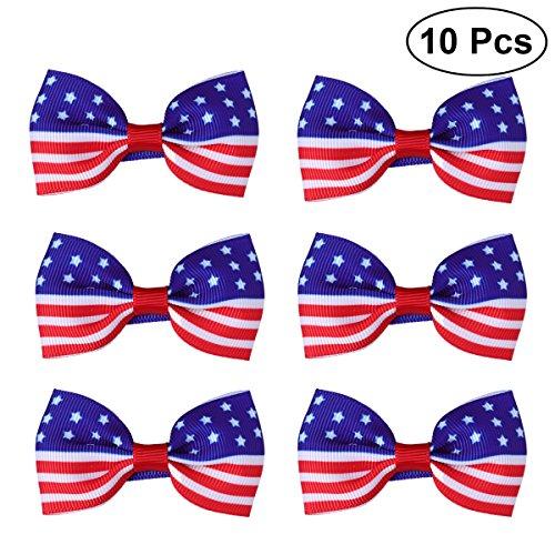 Amerikas Nationalen Schätzen (BESTOYARD USA Amerika Flagge Haarspange Kinder Baby Mädchen Bowknot Haarnadeln für Unabhängigkeitstag. Juli National Day 10 STÜCKE (rot))