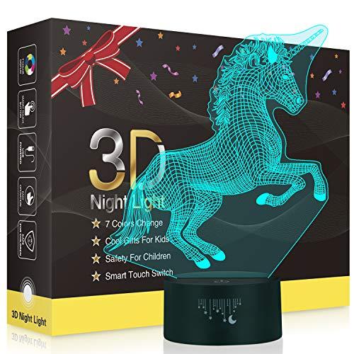 Unicornio 3D Lámpara LED Luz Nocturna, Fútbol 3D Lámpara de Escritorio 7 Colores Control Táctil para los niños y regalo de Navidad de cumpleaños