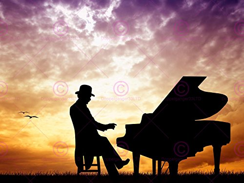 61 Grand Piano (PHOTOGRAPH MOCK UP SILHOUETTE SUNSET GRAND PIANO ART PRINT PLAKAT POSTER MP3966A)