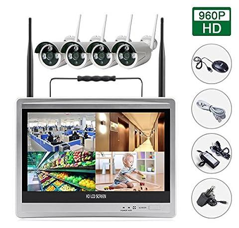 SIBO® Kanäle 960P Wireless IP Kameras System Easy Remote Access IR Tag / Nachtsicht Wasserdichte Kamera, Portable 12 Zoll HD LCD Monitor WIFI NVR KIT SB-WIFILCD12-960P