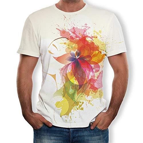 Fenverk Unisex 3D Druckten Sommer-BeiläUfige Kurze HüLsen-T-Shirts T-StüCke BeiläUfige Kurzen äRmeln Print Schmale Passform T Shirts Herren Rundhals Casual Strassenmode(Weiß - Teletubbies Kostüm Selbstgemacht