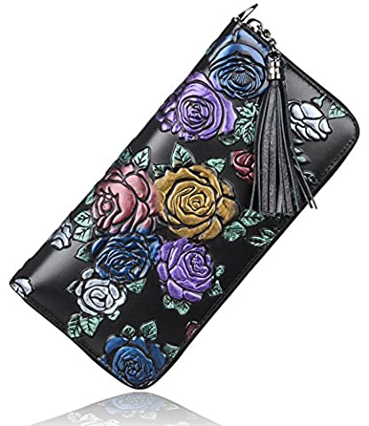 PIJUSHI Classic Clutch Genuine Leather Long Wallet Card Holder Purse (Black Rose)