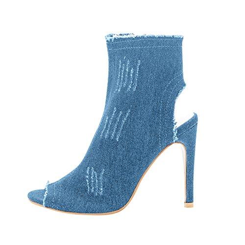 Denim Ankle Boot (SCHOLIEBEN Boots Stiefel Chelsea Keilabsatz Damen Ankle Winte rAbsatz High Heel Denim Plateau Kurzschaft Halbschaft Chukka Zipper)