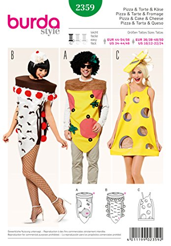 Burda b2359Schnittmuster Pizza + Pie und Käse Papier weiß 19x 13x (Kostüme Pizza Kind)