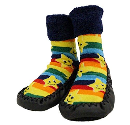 Chaussures Chaussettes d'hiver épaisses à semelle antidérapante pour bébés, motif arc-en-ciel, 1 à 3 ans - Bleu - âge 2-3