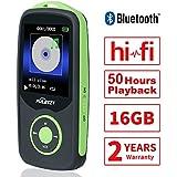 Puersit 16GB Bluethooth Reproductor de Música Digital MP3 con 50 horas de Reproducción, Soporta hasta 64GB, HiFi, Radio FM y Audio Libro con Funciones de Marcador Disponible (Verde)