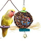 SHARLLEN Bird Parrot Toy Rattan Ball with Paper Strips Chewing Toy for Small Parrot