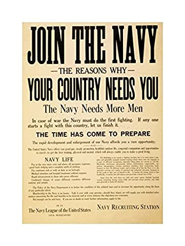 VINTAGE AD MILITARY ENLIST NAVY JOIN COUNTRY NEEDS YOU FRAMED PRINT F12X5873