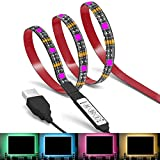 LED Lights Strip, EMIUP 1m RGB 5050 Multicolor 5V USB Powered TV Backlight Strip with 3 Keys Mini Controller for HDTV Home Theater Desktop Monitors