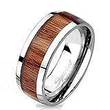 Bungsa® 64 (20.4) Titan Ring mit edlem braunem Holz Mittelring für Damen und Herren 60 62 64 67 (Silber Fingerring Partnerringe Verlobungsringe Trauringe Damenring Titaniumring)