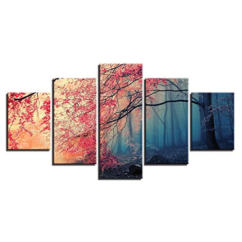 High Definition Abstract Modern Micro Spray Home Decoration Canvas Oil Painting Mural Cherry Red Landscape Trees Fünf Gemälde -