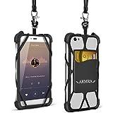 """ARMRA Llavero Del teléfono Universal 4.0 """"-6.0"""" Estuche de Silicona Con Correa para el Cuello Para el iPhone 7 / 7Plus / 6S / 6Plus / 6 / S7 / S6Edge / Nota 5/4 / LG / HTC (Negro)"""