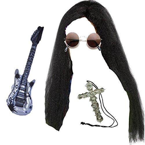 Blue Planète Online Ozzy Noir Longue perruque, lunettes, Croix Collier Fantaisie Guitare & gonflable à bascule Kit pour (Kostüm Ozzy Zubehör Osbourne)