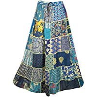 Womens Gypsy Skirt Blue Patchwork Floral Peasant Style Skirt