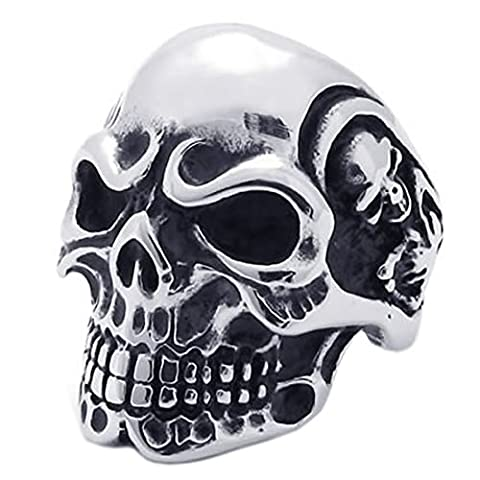 TOOGOO(R) Jewelry biker men's ring, stainless steel, frown face Gothic skull, black + silver (10)