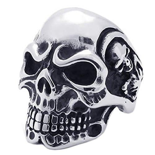 Anillo en forma de craneo de ceno de hombres - SODIAL(R) anillo de joyeria de hombre motorista, de acero inoxidable, en forma de craneo de ceno de estilo gotico, negro + plata(9)