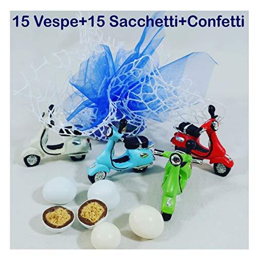 Sindy bomboniere moto sacchetti + 15 vespe +confetti, rayon, azzurro, 4 x 2 x 4 cm