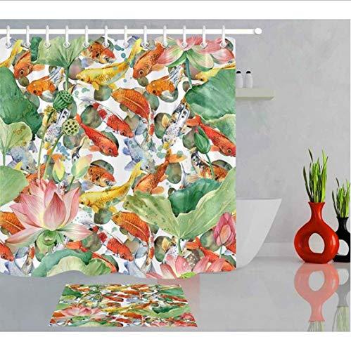 XQWZM Karpfen Koi Und Blume Lotus Künstlerische Duschvorhänge Bad Vorhang Aquarell Teich Fisch Wasserdichtes Gewebe Für Badewanne Decor, 150X180 cm