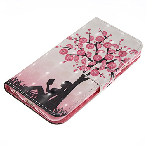 iPhone 6S Hülle,iPhone 6 Hülle,iPhone 6S Leder Hülle,iPhone 6 / 6S Kunstleder Wallet Case Handy Tasche Schutzhülle - JAWSEU Lederhülle Leder Tasche Case Cover für iPhone 6S / iPhone 6 Hülle PU Leder B Rosa Blumen Baum
