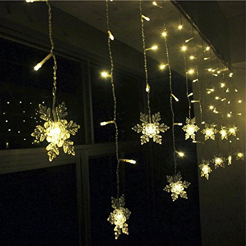 K-Bright 3.5M / 138in 96 LED warme weiße Snowflake -förmige Fee Weihnachten Schnur-Lichter Indoor Outdoor dekorative Vorhang Lampe 8 Twinkle-Modi für Xmas Tree Garten, Terrasse, Haus, Party,Hochzeit Hotel Festival Dekoration IP44 (Halloween-dekorationen Ziel)