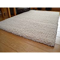 Soft Touch Shaggy Ivory Cream Thick Luxurious Soft 5cm Dense Pile Rug. Available in 7 Sizes (160cm x 220cm)