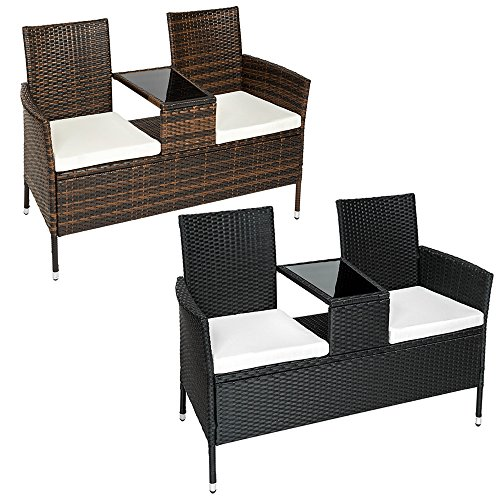 TecTake Poly rattan bench with glass table 2 seats with cushions (Black | No. 401547)