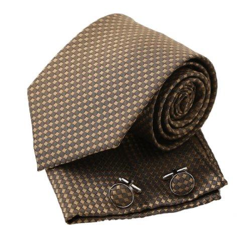 PH1099 Brown karierte Art und Weise f¨¹r Wedding gesponnene Silk Krawatte Taschent¨¹cher Manschettenkn?pfe Geschenk-Kasten gesetztes Rosy Brown gro?e Geschenk-Bindung durch Epoint