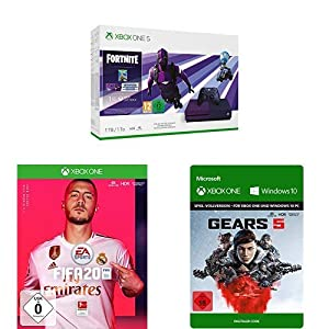 Microsoft Xbox One S 1TB – Fortnite Special Edition Bundle + FIFA 20 + Gears 5