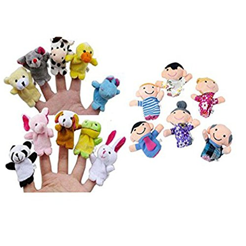 Auxma 16PC Story Finger Puppets 10 Animales 6 Personas Miembros de la familia Educational Toy