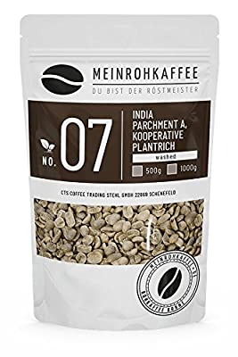Green Coffee - India Parchment A (Green Coffee Beans) - Strong Dark Aroma - from Controlled Biological-Organic Cultivation - 500g from kaffeearomen