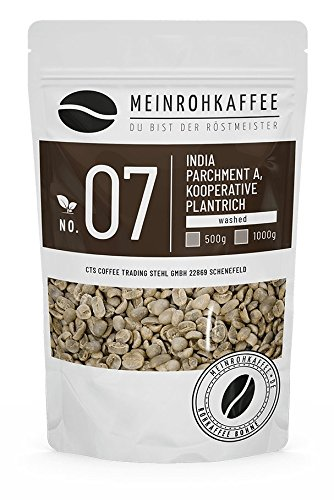 Rohkaffee - India Parchment A (grüne Kaffeebohnen) - kräftiges Zartbitter-Aroma - 500g
