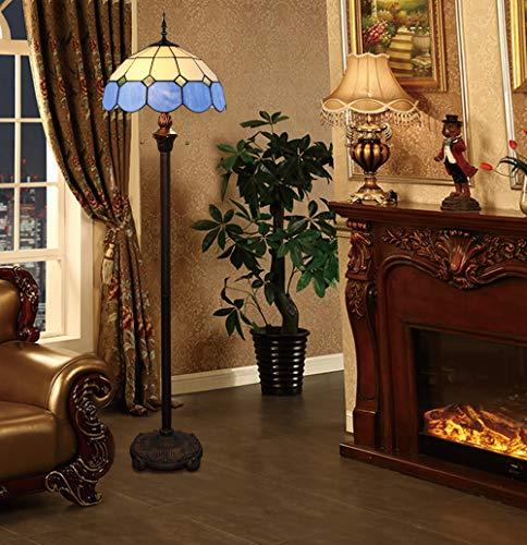 Tiffany Stehlampe Modern Wohnzimmer Blau Retro, Buntglas Mediterraner Stil Glas Lampenschirm Stehlampe Bunt 64 Zoll by FBOSS