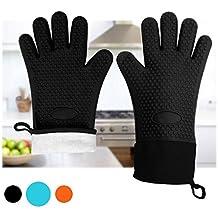 Hitzebeständig Ofenhandschuhe - Silikon Grillhandschuhe BBQ Handschuhe zum Kochen, Backen, Grillen, Barbecue durch Double Elite, Schwarz, 2er Set