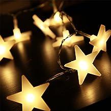 20 Estrellas de LED Cadena de Luces de 2 Metros Lámpara de Batería Tira de Luces de Decoración de Navidad Iluminación Interior para Dormitorio Casa Sala Escalera Pared