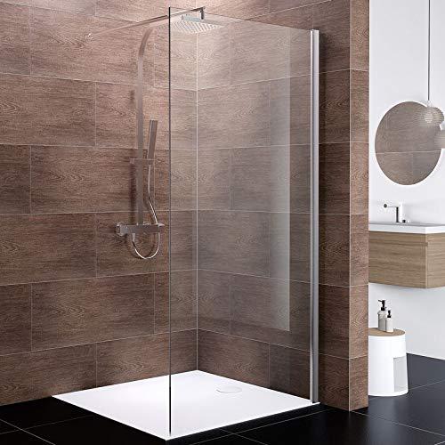 Schulte Duschwand Walk In Boston, 100 x 200 cm, 10 mm Sicherheitsglas Klar hell beschichtet, Profile chromoptik, Duschabtrennung für Duschwanne oder Fliese