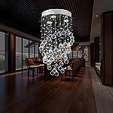 Louvra Cristal Plafonnier Lampe Moderne Finition Chromée Plafond Pendentif Éclairage Lumière Décoratif Désign Pour Salon Chambre Salle à Manger Bureau Chambre à Coucher Salon Hôtel