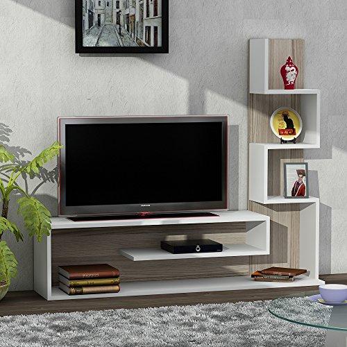 Wohnwand Anbauwand Wohnwandkombi TV Medienwand Lowboard METEHAN in Weiß-Cordoba 1711 - 2
